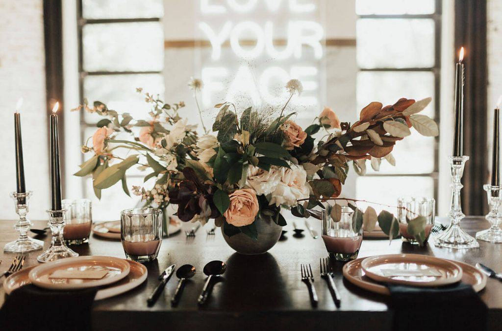 The table wear was rose gold and millennial pink for this stylized indoor wedding shoot.