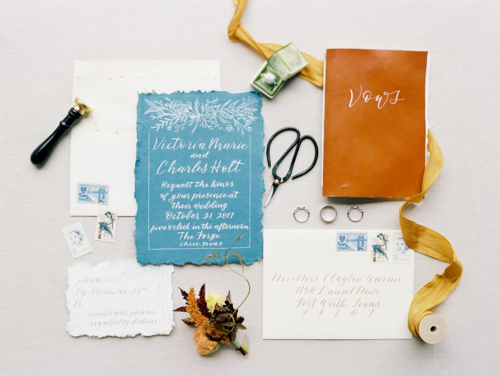 Warm autumn tones contrast cool romantic colors in this modern fall wedding